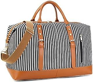 CAMTOP Weekend Travel Bag Ladies Women Duffle Tote Bags PU Leather Trim Canvas Overnight Bag Luggage (Black Striple)