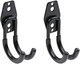 WINSOON Heavy Duty Double Utility Garage Hooks Wall Mount Hook Set Tool Tack Storage (2 x Samall J Shape, Black)