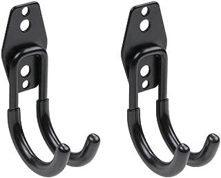 WINSOON Heavy Duty Double Utility Garage Hooks Wall Mount Hook Set Tool Tack Storage (2 x Samall J Shape, Black)