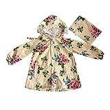 fgsdd Chubasquero para niños y niñas, estampado de flores, ligero, ropa de lluvia beige S
