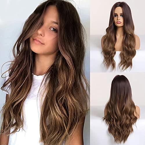 HAIRCUBE Longue perruque brune synthétique naturelle , perruque ondulée avec partie centrale pleine de perruques pour les femmes utilisation quotidienne naturelle