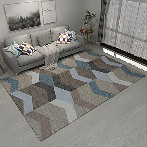 Alfombra alfombras recibidor No se desvanezca el diseño geométrico Azul Negro marrón...