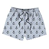 Kids Nautical Navy Anchor Stripe Boardshorts Quick Dry Stretch Surfing Swim Shorts for Boys or Girls