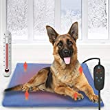 Pet Heating Pad, Dog Electric Heat Pad with Timer, 90x60CM Waterproof Heating Pad for Dogs, Indoor Safety Temperature Adjustable Heated Cats Mat Bed for Pets with 210CM Chew Resistant Steel Cord