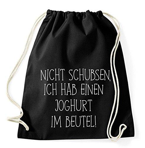 Nicht Schubsen, Ich Hab Einen Joghurt im Beutel Gym Bag Turnbeutel Rucksack Sport Hipster Style in 8 Farben, Farbe:Schwarz