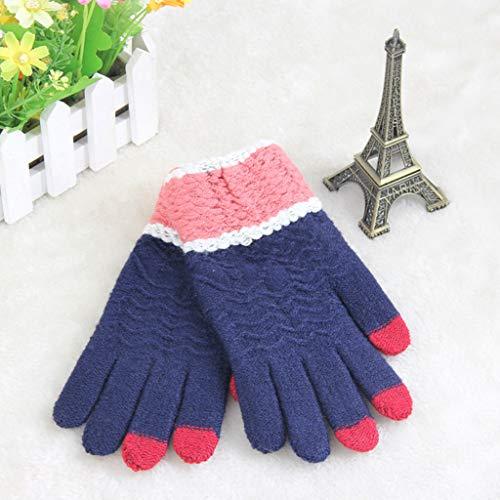 Haluoo Touchscreen Texting Gloves, Womens Winter Touch Screen Gloves Knit Texting Gloves Knitted Full Finger Mittens (Navy)