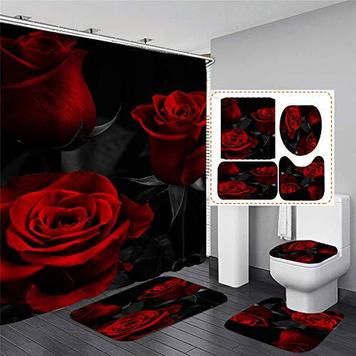 """4PCS Red Rose Shower Curtain Sets with Rugs,Toilet Lid Cover and Bath Mat Waterproof Polyester Fabric Shower Curtains with 12 Hooks Three Red Rose Bathroom Decor with Shower Curtain 70.8""""x70.8"""""""