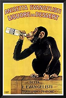 Buyartforless Framed Vintage Liquor Dessert Drunk Monkey 36x24 Poster Art Print Vintage Advertising