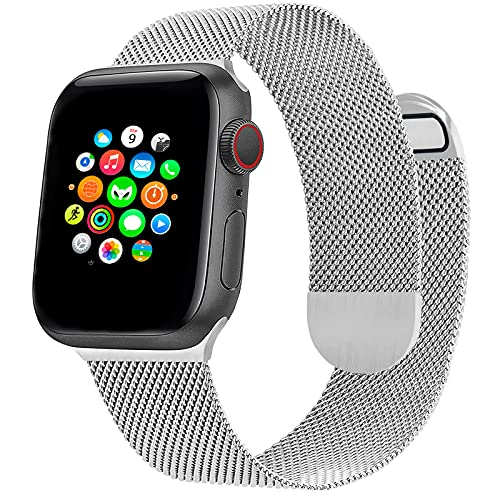 Correa de Reloj Metálica Milanesa Compatible con Apple Watch Band 40 mm 38 mm, Pulsera de Repuesto de Malla de Acero Inoxidable Ajustable Magnética para iWatch Series 6 5 4 3 2 1 SE, Plata