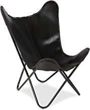 Boho Traders Leather Butterfly Chair with Iron Frame, Black