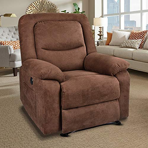 RELAXIXI Power Recliner Chair with Massage, Heat and USB Charge Port - Electric Recliner for Elderly - Soft Fabric Sofa for Home Living Room