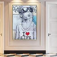 モダンストリートアートキャンバスプリントラブライフボーイウォールポスターウォールグラフィティアート写真キャンバスペインティングホームウォールデコレーション40x50cm(16x20in)内枠