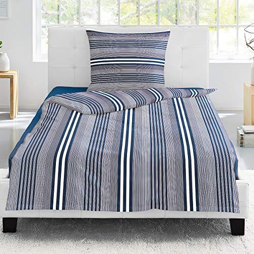 Irisette Mako-Satin Bettwäsche Capri Halifax blau 1 Bettbezug 155 x 220 cm + 1 Kissenbezug 80 x 80 cm