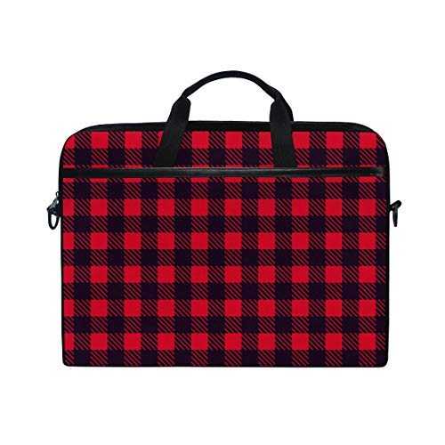 EZIOLY Red Black Plaid Checked Laptop Shoulder Messenger Bag Case Sleeve for 13 Inch to 14 inch Laptop