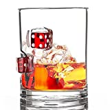 Stuck in Glass Devil's Bone 10 oz Whiskey Glass   Dice   Original Handcrafted Embedded Barware   Chance Cube   Red
