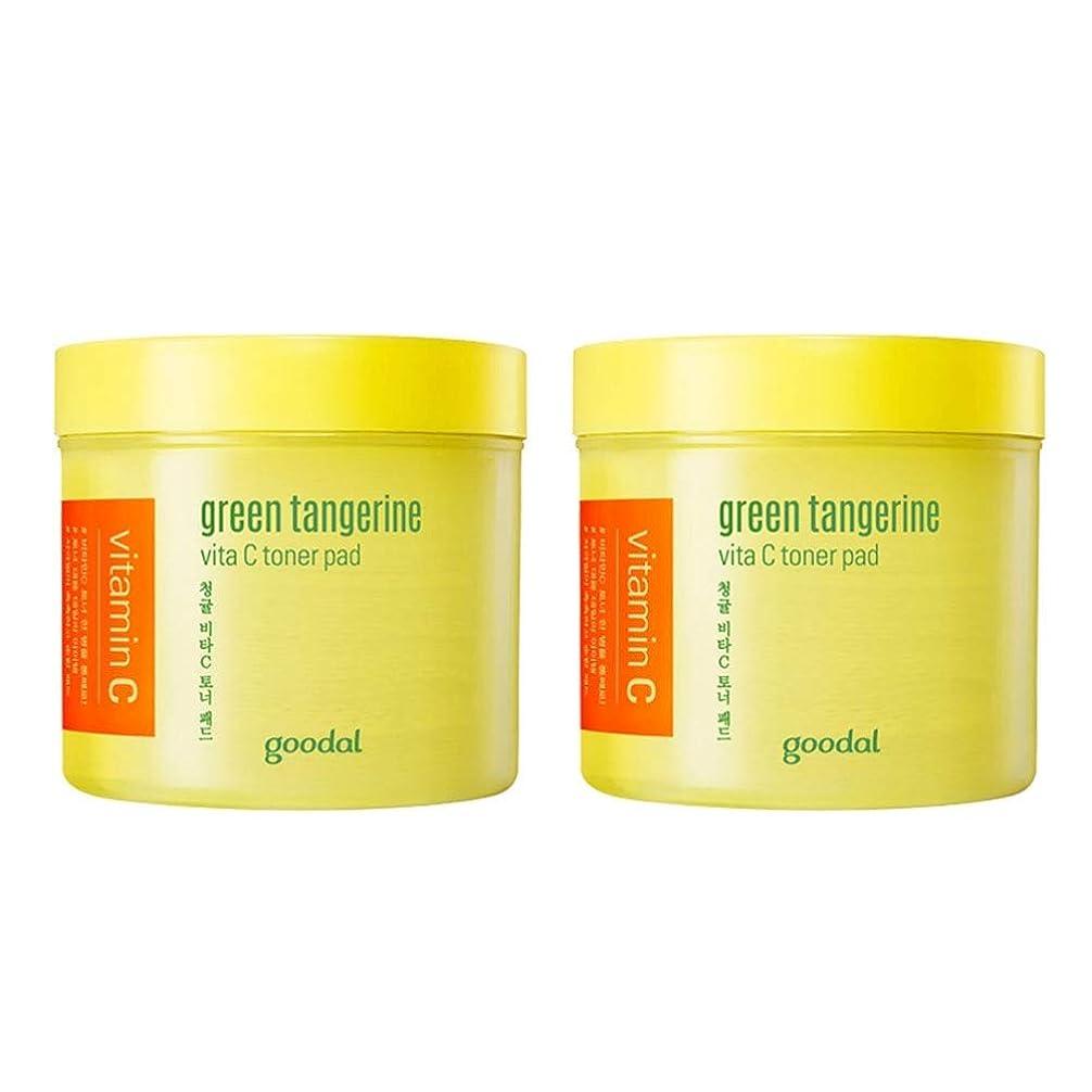 バトル質素な許可するグドール青みかんヴィータCトナーパッド70px2本セット質除去、水分供給 韓国コスメ 、Goodal Green Tangerine Vita C Toner Pad 70p x 2ea Set Korean Cosmetics [並行輸入品]