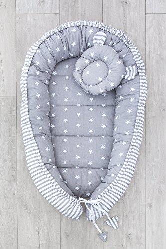 LOOLAY® 2seitig Kokon + Bärchen-Kissen Nestchen Babynestchen Babykokon Kuschelbett Baby-Reisebett Babybett (Sternchen grau/Streifenmuster grau)
