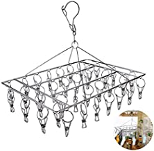 Aokilom Laundry Drying Racks Hangers with 36 Clips,Stainless Steel Sock Dryers Clothes Drying Racks for Coat/Towels/Diapers/Underwear/Socks/Hat/Glove
