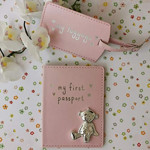 Button Corner PU My First Passport & Gepäckanhänger Set mit Metall Teddy Icon Pink CG988P 200g