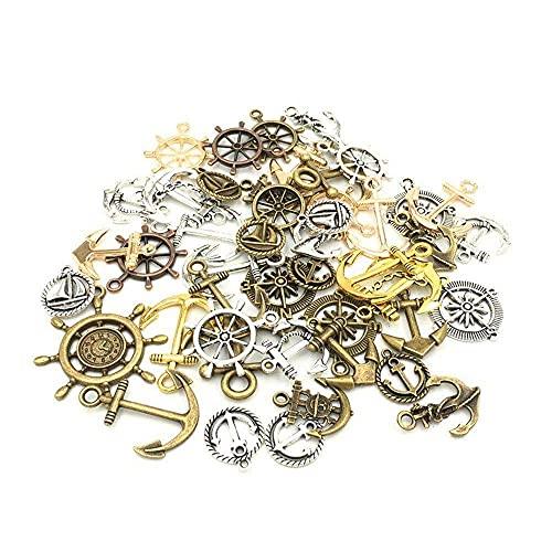 55 piezas de anclas tibetanas de plata antigua para collar, pulsera, hallazgos de joyería, dijes artesanales, colgantes