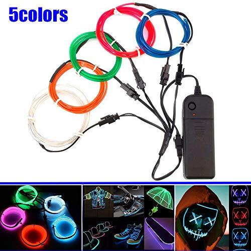 JinQiu Leuchtendes, elektrolumineszierendes EL-Lichtkabel mit Batterie-Pack-Controller für Weihnachten, Halloween, Partys, Automobile, Werbung, Dekoration Plastik 5-Color