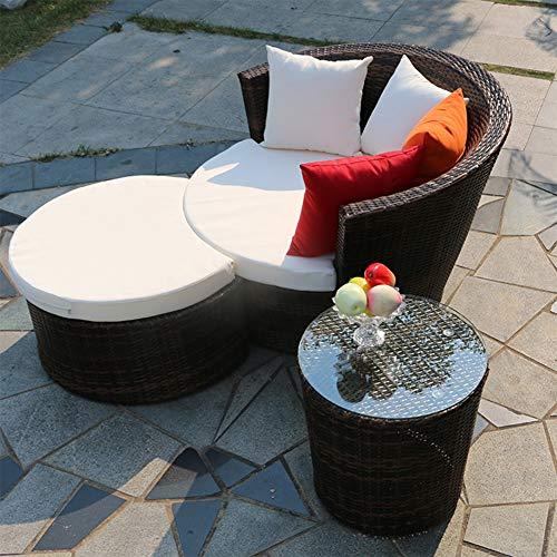 DNNAL Chaise Longue, Canapé combiné Canapé inclinable extérieur Plage Lit en rotin pour Balcon Jardin extérieur Cour Solarium,C