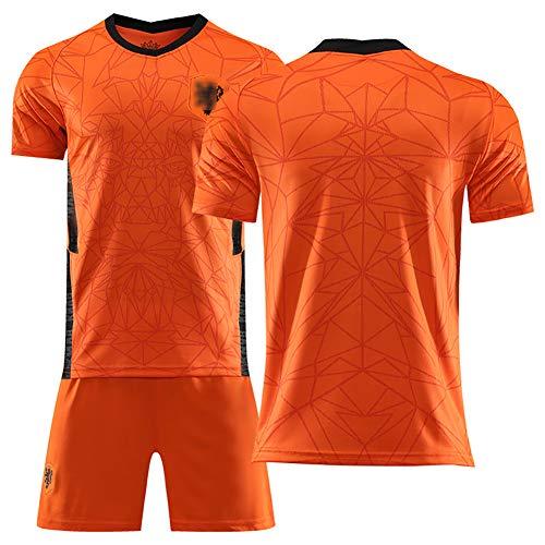 Survêtements de Football pour Enfants utilisés pour Le Maillot National néerlandais de la Coupe d'europe Robben 2020, T-Shirts de Shorts d'uniforme de Football de Champion, Personnalisables-No Numb