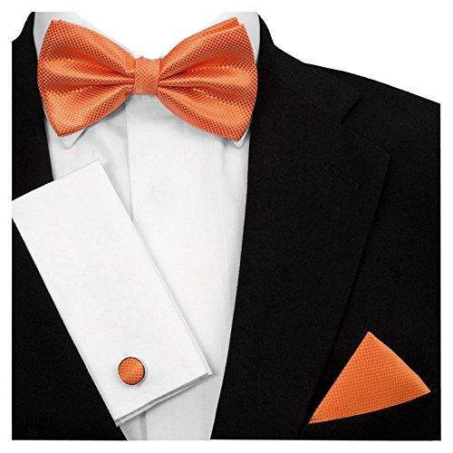Gassani 3-SET herenvlinderdas, manchetknopen en zakdoek in 19 kleuren | Grid-Karo geruit zijdelook deuvelvleugels | lus gebonden en verstelbaar | vliegenset voor pak Smoking