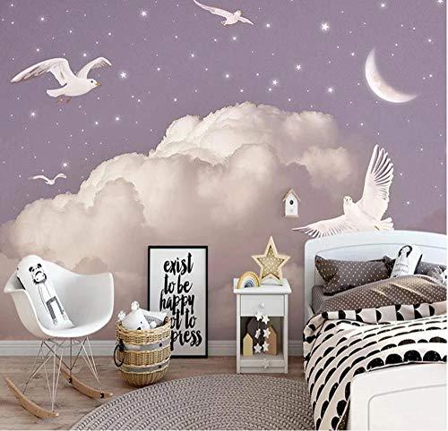Fotomurales 3D Papel Pintado Murales Personalizado Nórdico Pintado A Mano Fantasía Nubes Cielo Estrellado Pájaros Mural Dormitorio Infantil Pegatinas De Fondo 280Cm×200Cm