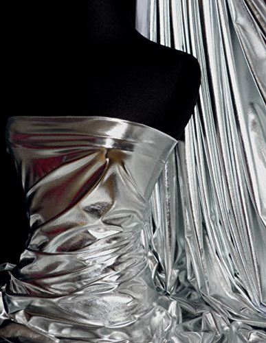Tela elástica de aspecto húmedo con efecto líquido de alta luminosidad | Impresionante material de confección y exhibición | Envío el mismo día | Vendido por metro | por Tia Knight (plata, 1 metro)