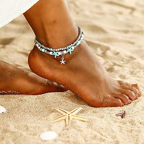 Sethexy Boho En capas Calcetín playa Estrella de mar Colgante Ajustable Plata Turquesa Multicapa Pulseras tobilleras Rosario Joyería del pie Pulsera para el tobillo para mujeres y niñas