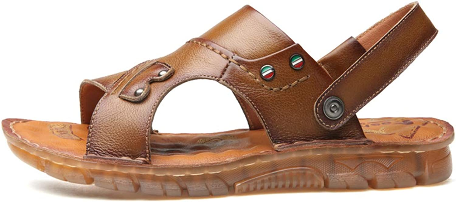 Henxizucun Mens Summer Outdoor Sport Beach Casual Sandals Slippers Athletic Open Toe Flat shoes Walking Lightweight Non-Slip Breathable Leather shoes,khaki,39