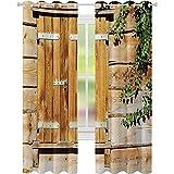 cortinas de dormitorio, Fachada de un edificio viejo persianas de madera tradicional casa de verano plantas naturaleza, W52 x L72 Bloquear cortinas para sala de estar, beige verde