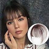 viviaBella - Puntale a clip per capelli umani con frangia 3D a clip, per capelli veri, con clip in un unico pezzo, colore: marrone scuro