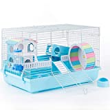 Hamster Cage for Dwarf Hamster Syrian Hamster Cages Rat Cage Small Animal Cage (Blue)