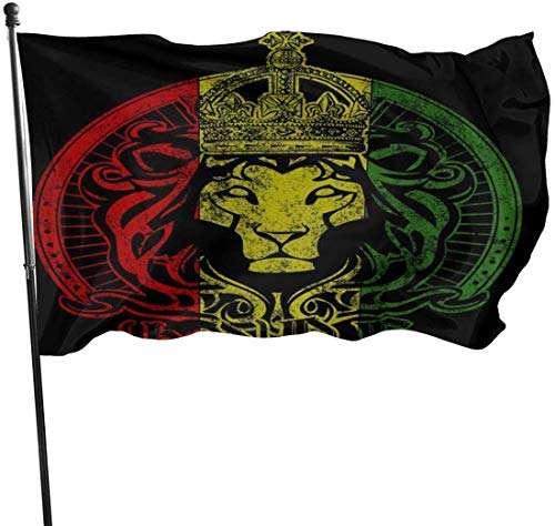 dfjdfjdjf Flagge/Fahne African Flag The Lion of Judah Rasta Rastafari Flags Durable House Flag Fade Resistant Outdoor Banner Yard Holiday Decorative Flags for College Weekend Sports 3 X 5 Ft