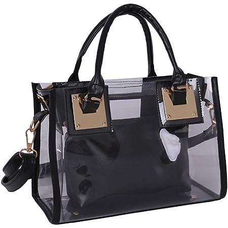 Rullar Damen 2 Stücke Kleine Klare Schultertasche Taschenset Umhängetasche PVC Transparent Shopper Handtasche Clutch Tasche Schwarz