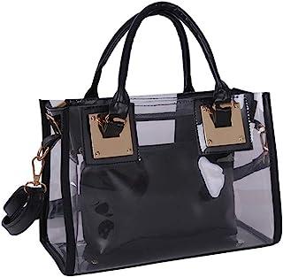 Rullar Women 2 Pcs Small Clear Tote Beach Shoulder Top-Handle Bag PVC Transparent Satchel Handbag Purse Black