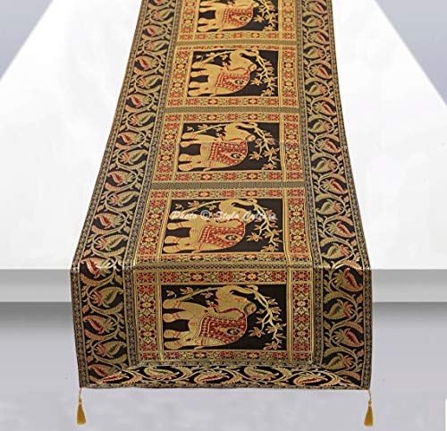 Stylo Culture Indische Dekorative Tischdecke Schwarz Gold Elefant Blumen Bohemien Jacquard Quaste Tischläufer Rechteckig 5 Fuß Für Wohnzimmerdekor Brokat Hochzeit Tischplatte (40 x 152 cm)