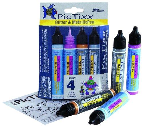 Kreul 49891 - PicTixx Glitter und Metallic Pen Set, für brillante und metallische Akzente auf Serviettentechnik, Window Color und Textilien, 2 x 29 ml in glitterfarbe, 2 x 29 ml in metallicfarbe