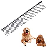 nuoshen Pet Comb, Stainless Steel Pet Grooming Comb Rounded Teeth Dog Comb Greyhound Comb Grooming Tools for Large, Medium and Small Dogs Cats Horse (19 x 3.5 cm)