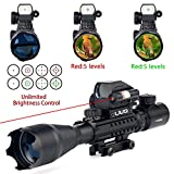UUQ 4-16x50 Tactical Rifle Scope Red/Green Illuminated Range Finder Reticle W/RED Laser Sight and Holographic Reflex Dot Sight