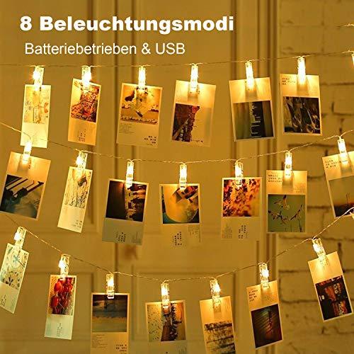 OUSFOT LED Fotoclips Lichterkette 40 LEDs Lichterkette mit Klammern für Fotos 8 Modi Batteriebetrieben/USB 6 Meter Warmweiß