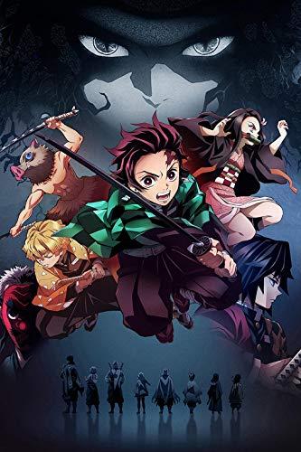 Dreamawsl Demon Slayer Poster - Kamado Tanjirou Team - Metal Poster Anime Tin Poster Manga Poster 12 x 8 inch (30 x 20 cm)