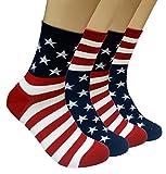 JJMax Calcetines de mezcla de algodón con la bandera de Estados Unidos para hombre, talla única - beige - talla única