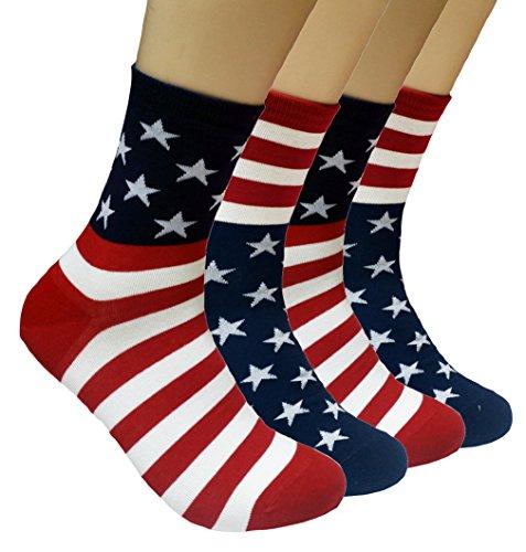 JJMax Amerikaanse Amerikaanse Amerikaanse vlag katoenmix bemanning sokken één maat past allemaal