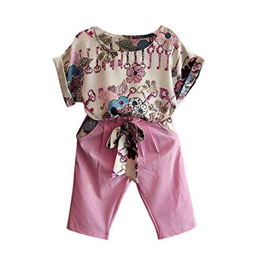 Sannysis Sannysis Mädchen Kleidung Set, Kinder Mädchen Kurzarm T-Shirt + Hosen (Rosa, 100)