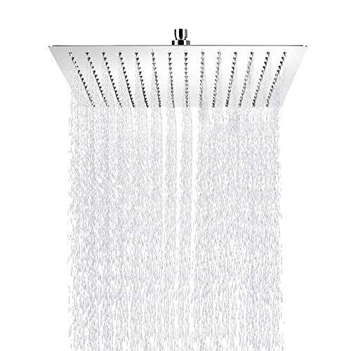 Aufun Regenbrause Duschkopf Regendusche Quadrat 50 cm Modern Schwenkbar Einbauduschköpfe aus Edelstahl mit Anti-Kalk Düsen Poliert Regenduschkopf, Quadrat 20 zoll