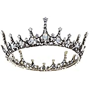 SWEETV Crystal Baroque Queen Crown - Vintage Princess Tiara, Wedding Prom Pearl Hair Accessories for Women and Girls