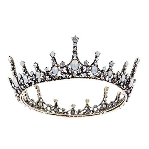 SWEETV Kristall Barock Königin Krone – Vintage Prinzessin Tiara Hochzeit Abschlussball Perlen Haarschmuck für Frauen und Mädchen